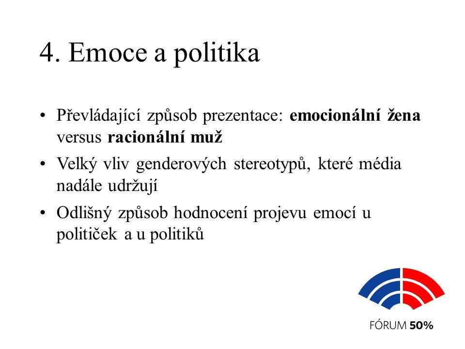 4. Emoce a politika Převládající způsob prezentace: emocionální žena versus racionální muž Velký vliv genderových stereotypů, které média nadále udržu