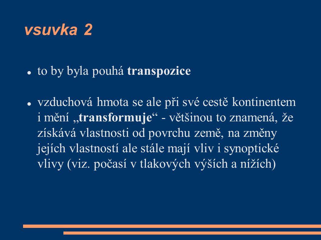"""vsuvka 2 to by byla pouhá transpozice vzduchová hmota se ale při své cestě kontinentem i mění """"transformuje - většinou to znamená, že získává vlastnosti od povrchu země, na změny jejích vlastností ale stále mají vliv i synoptické vlivy (viz."""