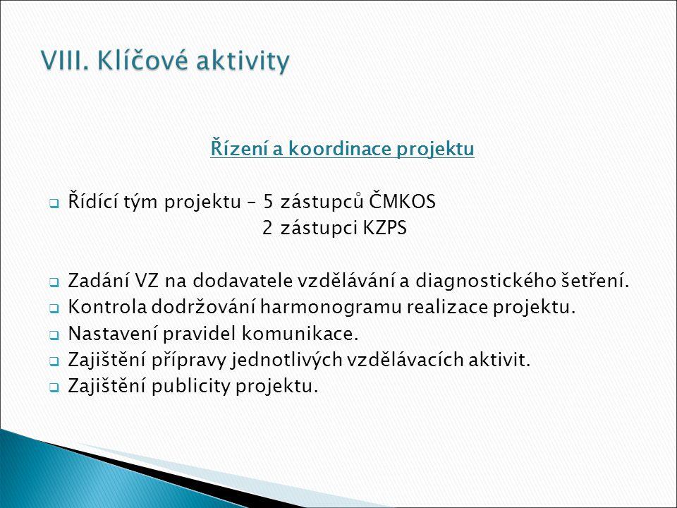 Řízení a koordinace projektu  Řídící tým projektu – 5 zástupců ČMKOS 2 zástupci KZPS  Zadání VZ na dodavatele vzdělávání a diagnostického šetření.