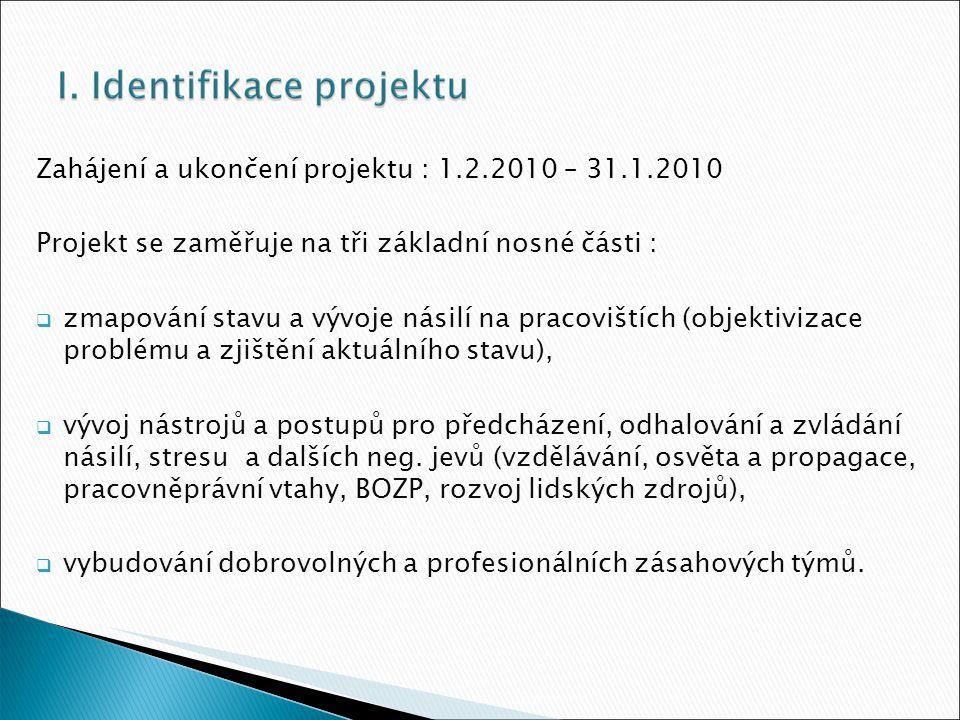 Zahájení a ukončení projektu : 1.2.2010 – 31.1.2010 Projekt se zaměřuje na tři základní nosné části :  zmapování stavu a vývoje násilí na pracovištích (objektivizace problému a zjištění aktuálního stavu),  vývoj nástrojů a postupů pro předcházení, odhalování a zvládání násilí, stresu a dalších neg.