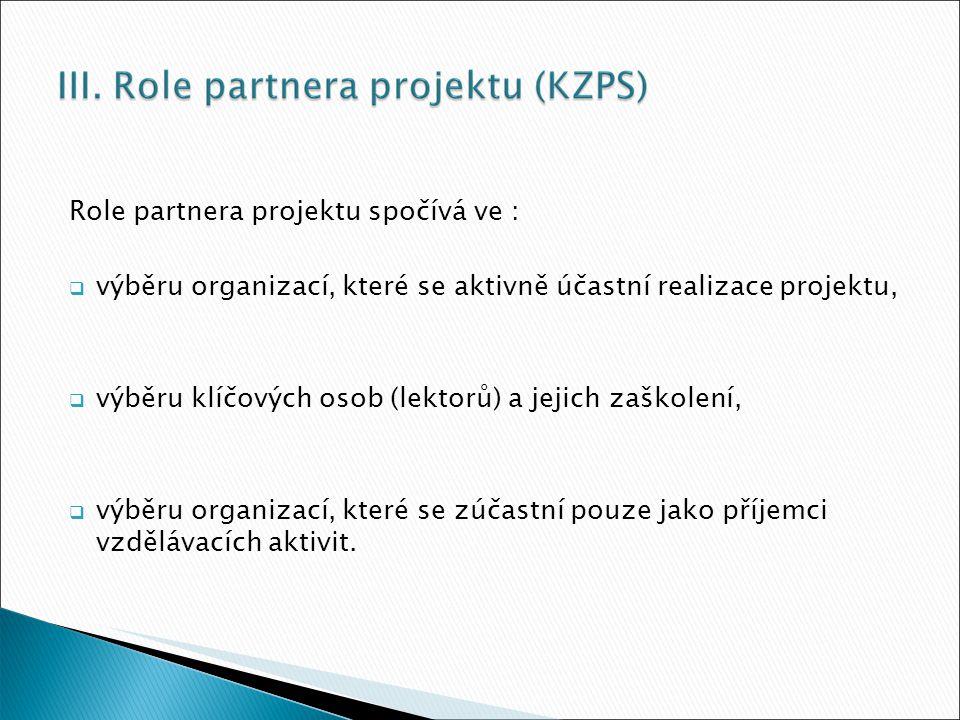 Role partnera projektu spočívá ve :  výběru organizací, které se aktivně účastní realizace projektu,  výběru klíčových osob (lektorů) a jejich zaškolení,  výběru organizací, které se zúčastní pouze jako příjemci vzdělávacích aktivit.