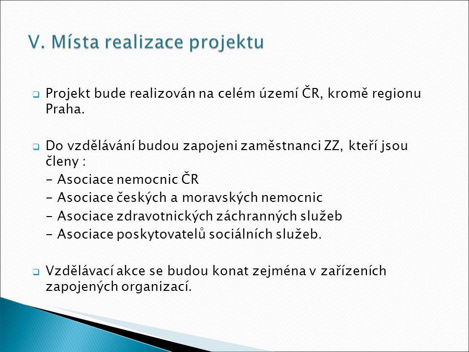  Projekt bude realizován na celém území ČR, kromě regionu Praha.