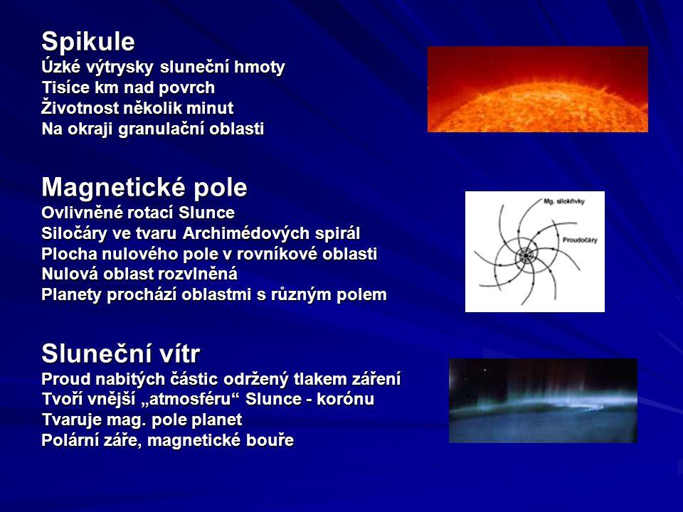 """Spikule Úzké výtrysky sluneční hmoty Tisíce km nad povrch Životnost několik minut Na okraji granulační oblasti Magnetické pole Ovlivněné rotací Slunce Siločáry ve tvaru Archimédových spirál Plocha nulového pole v rovníkové oblasti Nulová oblast rozvlněná Planety prochází oblastmi s různým polem Sluneční vítr Proud nabitých částic održený tlakem záření Tvoří vnější """"atmosféru Slunce - korónu Tvaruje mag."""