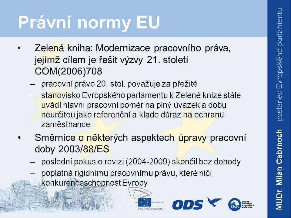 Právní normy EU Směrnice o vysílání pracovníků v rámci poskytování služeb 96/71/ES Návrh směrnice o prosazování směrnice 96/71/ES o vysílání pracovníků v rámci poskytování služeb –upravuje podmínky výkonu práce mimo domovskou zemi (pracovní doba, dovolená, mzda, ochrana zdraví atd.) –projednávání by mělo být ukončeno v první polovině 2013 MUDr.