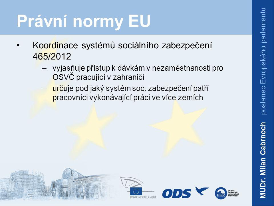 Právní normy EU Koordinace systémů sociálního zabezpečení 465/2012 –vyjasňuje přístup k dávkám v nezaměstnanosti pro OSVČ pracující v zahraničí –určuje pod jaký systém soc.