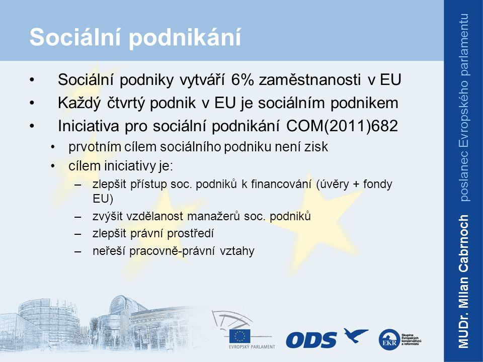 Sociální podnikání Sociální podniky vytváří 6% zaměstnanosti v EU Každý čtvrtý podnik v EU je sociálním podnikem Iniciativa pro sociální podnikání COM(2011)682 prvotním cílem sociálního podniku není zisk cílem iniciativy je: –zlepšit přístup soc.