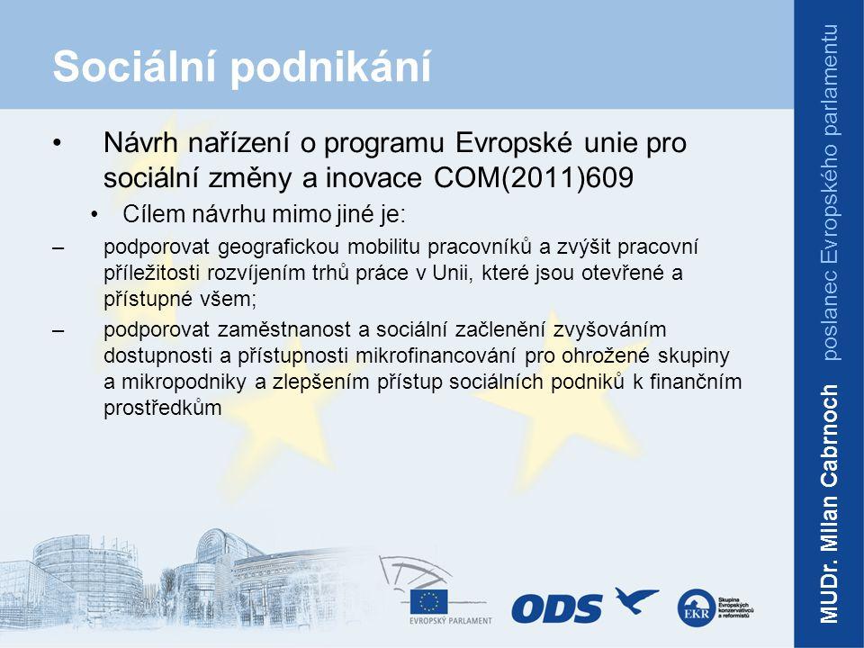 Sociální podnikání Návrh nařízení o programu Evropské unie pro sociální změny a inovace COM(2011)609 Cílem návrhu mimo jiné je: –podporovat geografickou mobilitu pracovníků a zvýšit pracovní příležitosti rozvíjením trhů práce v Unii, které jsou otevřené a přístupné všem; –podporovat zaměstnanost a sociální začlenění zvyšováním dostupnosti a přístupnosti mikrofinancování pro ohrožené skupiny a mikropodniky a zlepšením přístup sociálních podniků k finančním prostředkům MUDr.