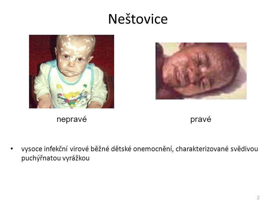 Neštovice vysoce infekční virové běžné dětské onemocnění, charakterizované svědivou puchýřnatou vyrážkou 2 nepravépravé