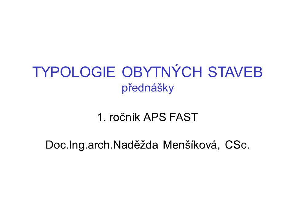 TYPOLOGIE OBYTNÝCH STAVEB přednášky 1. ročník APS FAST Doc.Ing.arch.Naděžda Menšíková, CSc.