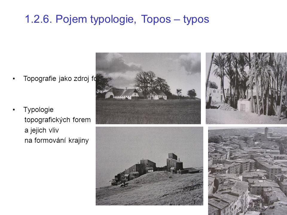 1.2.6. Pojem typologie, Topos – typos Topografie jako zdroj formy Typologie topografických forem a jejich vliv na formování krajiny