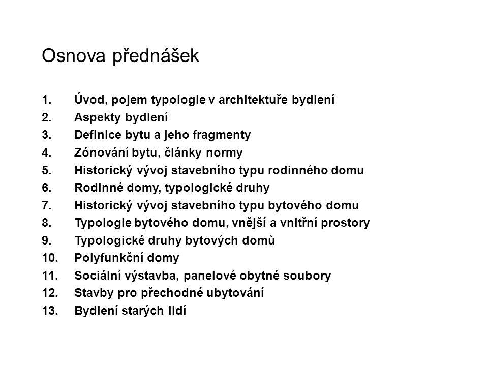 Osnova přednášek 1.Úvod, pojem typologie v architektuře bydlení 2.Aspekty bydlení 3.Definice bytu a jeho fragmenty 4.Zónování bytu, články normy 5.His