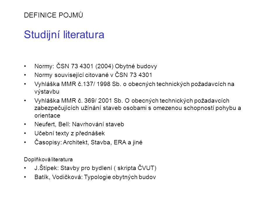 DEFINICE POJMŮ Studijní literatura Normy: ČSN 73 4301 (2004) Obytné budovy Normy související citované v ČSN 73 4301 Vyhláška MMR č.137/ 1998 Sb. o obe