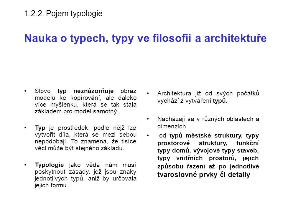 1.2.2. Pojem typologie Nauka o typech, typy ve filosofii a architektuře Architektura již od svých počátků vychází z vytváření typů. Nacházejí se v růz