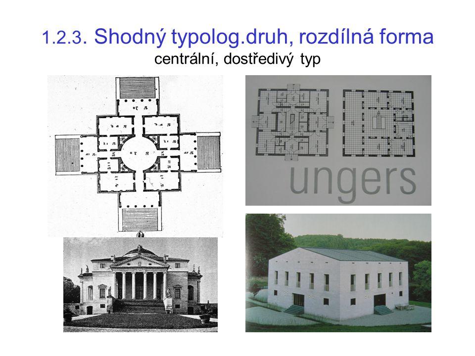 1.2.4. Shodný typolog.druh, rozdílná forma podélný, odstředivý typ