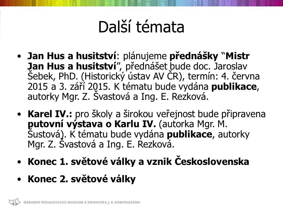 Další témata Jan Hus a husitství: plánujeme přednášky Mistr Jan Hus a husitství , přednášet bude doc.