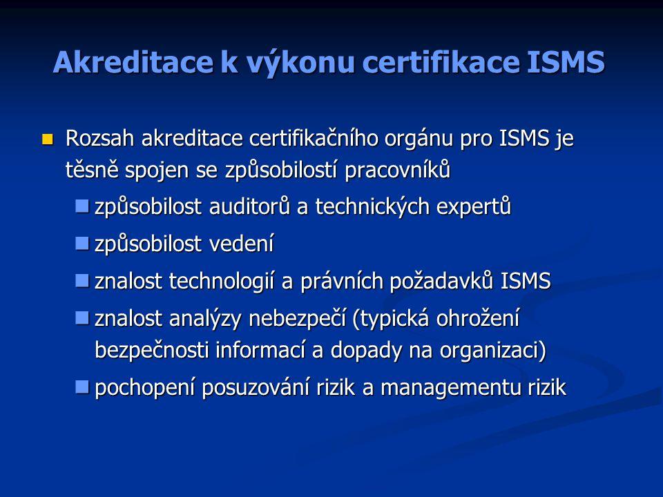 Akreditace k výkonu certifikace ISMS Rozsah akreditace certifikačního orgánu pro ISMS je těsně spojen se způsobilostí pracovníků Rozsah akreditace cer