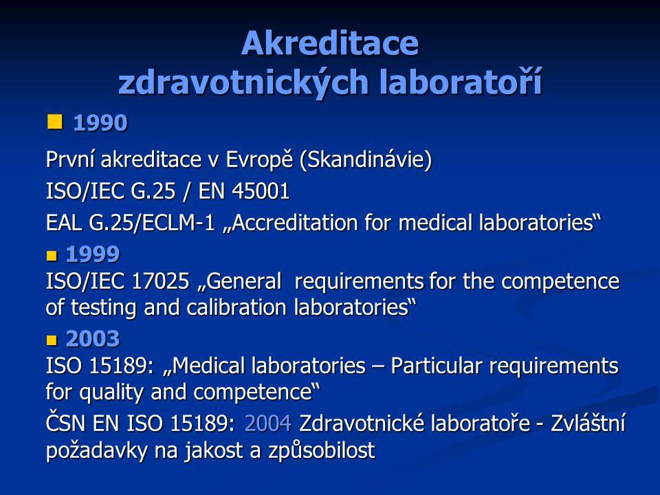 """Akreditace zdravotnických laboratoří 1990 1990 První akreditace v Evropě (Skandinávie) ISO/IEC G.25 / EN 45001 EAL G.25/ECLM-1 """"Accreditation for medi"""