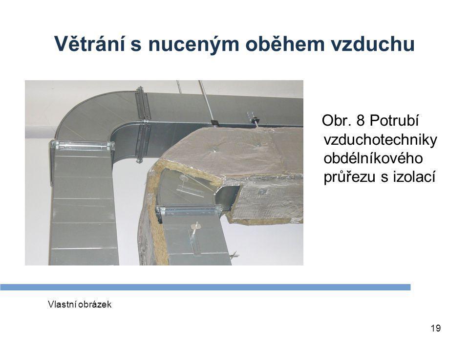 19 Větrání s nuceným oběhem vzduchu Obr. 8 Potrubí vzduchotechniky obdélníkového průřezu s izolací Vlastní obrázek