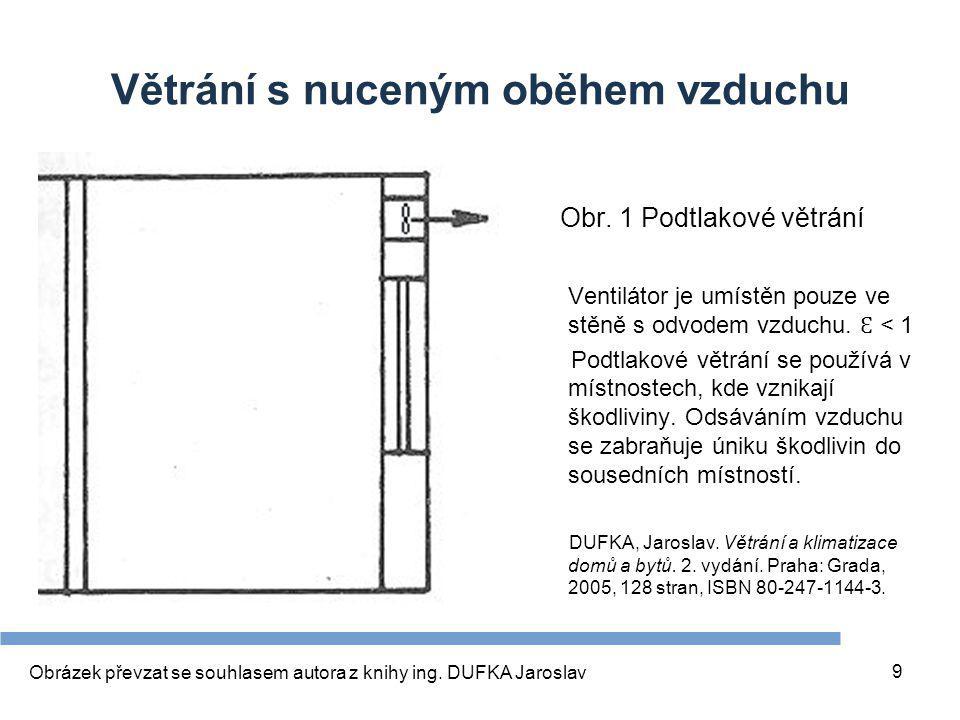 9 Větrání s nuceným oběhem vzduchu Obr. 1 Podtlakové větrání Ventilátor je umístěn pouze ve stěně s odvodem vzduchu. Ɛ < 1 Podtlakové větrání se použí