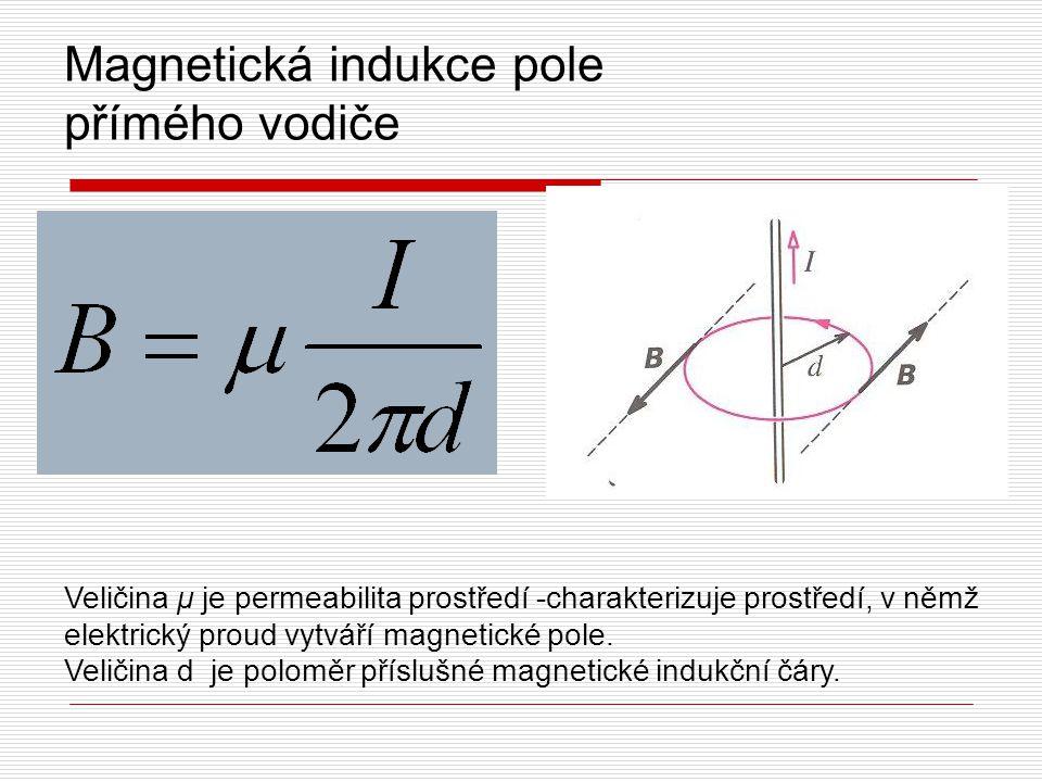 Magnetická indukce pole přímého vodiče Veličina μ je permeabilita prostředí -charakterizuje prostředí, v němž elektrický proud vytváří magnetické pole