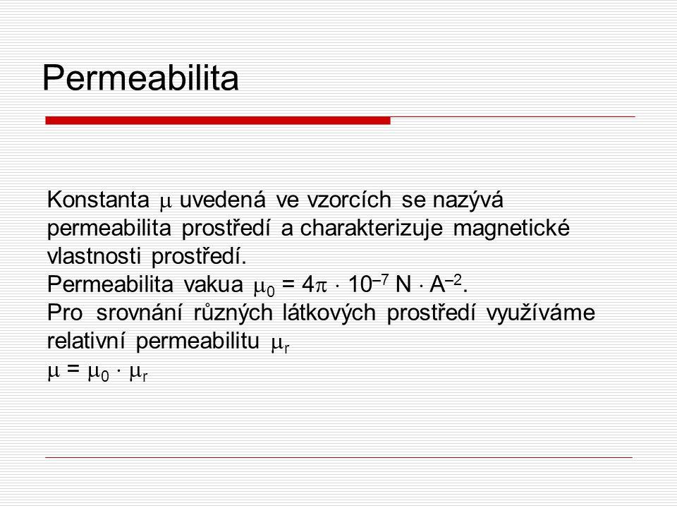 Permeabilita Konstanta  uvedená ve vzorcích se nazývá permeabilita prostředí a charakterizuje magnetické vlastnosti prostředí. Permeabilita vakua  0