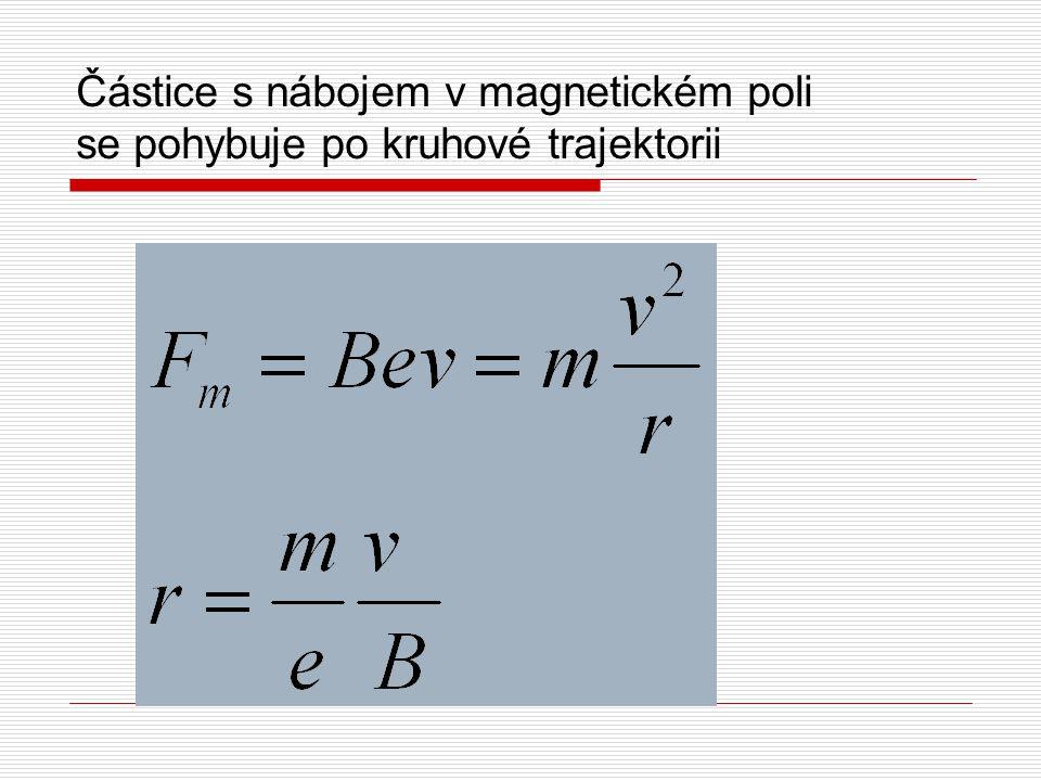 Částice s nábojem v magnetickém poli se pohybuje po kruhové trajektorii