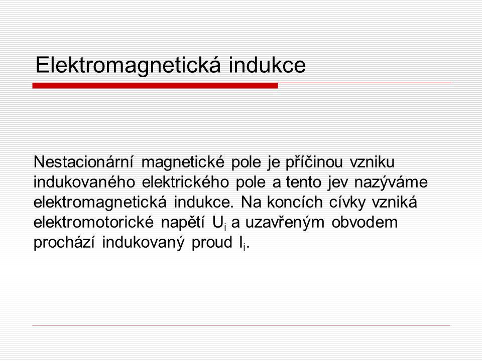 Nestacionární magnetické pole je příčinou vzniku indukovaného elektrického pole a tento jev nazýváme elektromagnetická indukce. Na koncích cívky vznik
