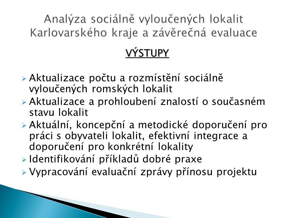 VÝSTUPY  Aktualizace počtu a rozmístění sociálně vyloučených romských lokalit  Aktualizace a prohloubení znalostí o současném stavu lokalit  Aktuální, koncepční a metodické doporučení pro práci s obyvateli lokalit, efektivní integrace a doporučení pro konkrétní lokality  Identifikování příkladů dobré praxe  Vypracování evaluační zprávy přínosu projektu
