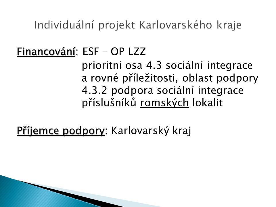 Financování: Financování: ESF – OP LZZ prioritní osa 4.3 sociální integrace a rovné příležitosti, oblast podpory 4.3.2 podpora sociální integrace příslušníků romských lokalit Příjemce podpory: Příjemce podpory: Karlovarský kraj