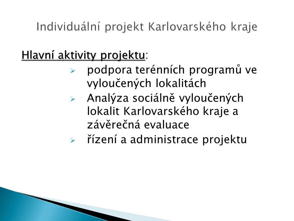 Hlavní aktivity projektu Hlavní aktivity projektu:  podpora terénních programů ve vyloučených lokalitách  Analýza sociálně vyloučených lokalit Karlovarského kraje a závěrečná evaluace  řízení a administrace projektu