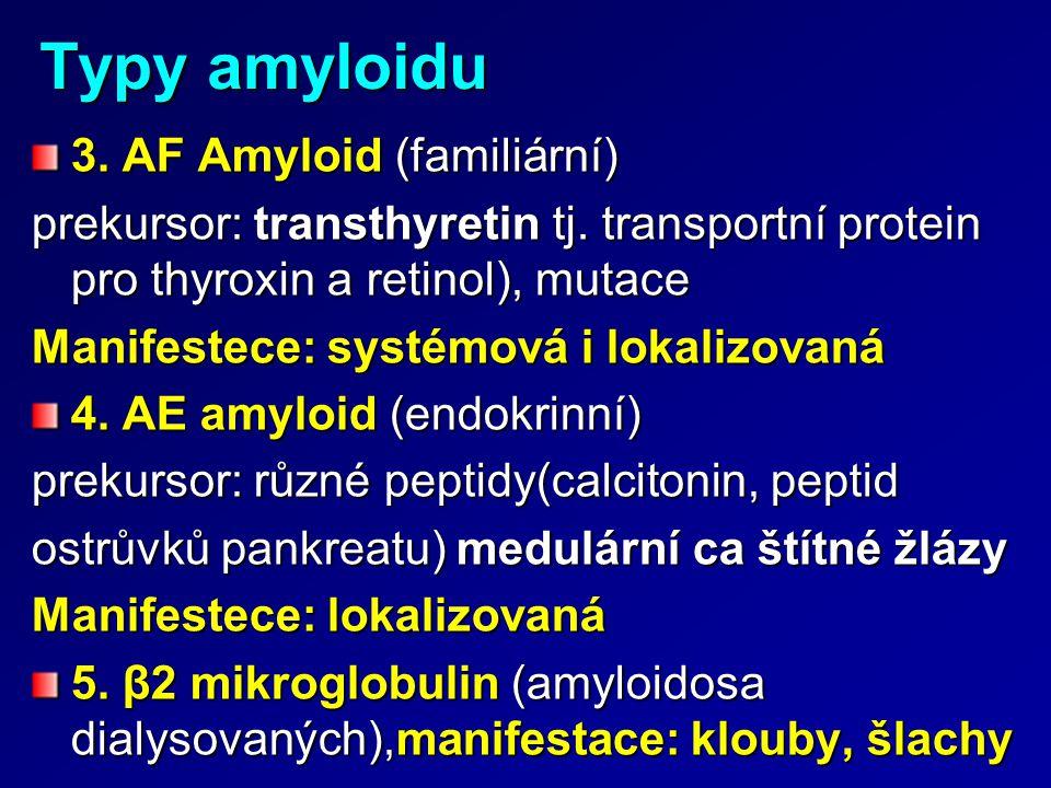 Typy amyloidu 3. AF Amyloid (familiární) prekursor: transthyretin tj. transportní protein pro thyroxin a retinol), mutace Manifestece: systémová i lok