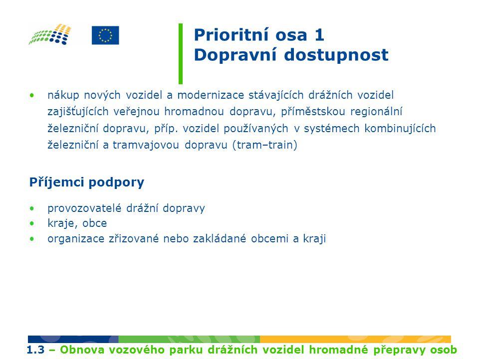 Prioritní osa 1 Dopravní dostupnost nákup nových vozidel a modernizace stávajících drážních vozidel zajišťujících veřejnou hromadnou dopravu, příměstskou regionální železniční dopravu, příp.