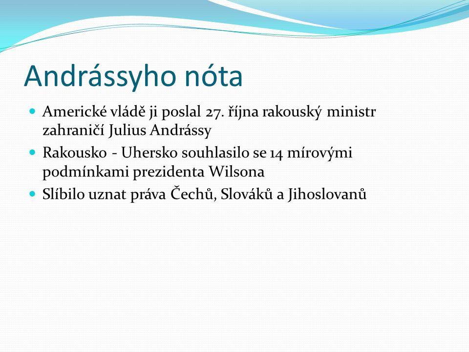 Andrássyho nóta Americké vládě ji poslal 27. října rakouský ministr zahraničí Julius Andrássy Rakousko - Uhersko souhlasilo se 14 mírovými podmínkami