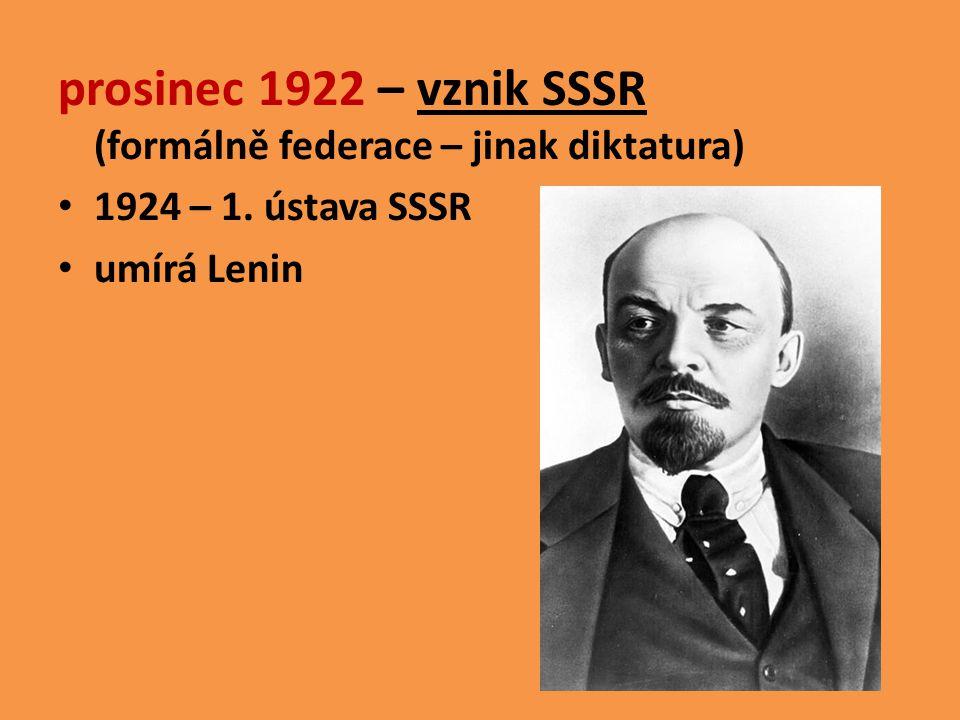 prosinec 1922 – vznik SSSR (formálně federace – jinak diktatura) 1924 – 1. ústava SSSR umírá Lenin
