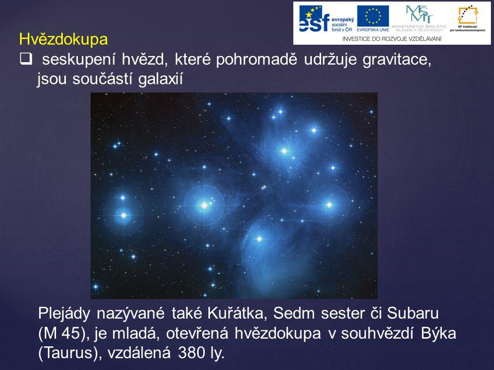 Hvězdokupa  seskupení hvězd, které pohromadě udržuje gravitace, jsou součástí galaxií Plejády nazývané také Kuřátka, Sedm sester či Subaru (M 45), je mladá, otevřená hvězdokupa v souhvězdí Býka (Taurus), vzdálená 380 ly.