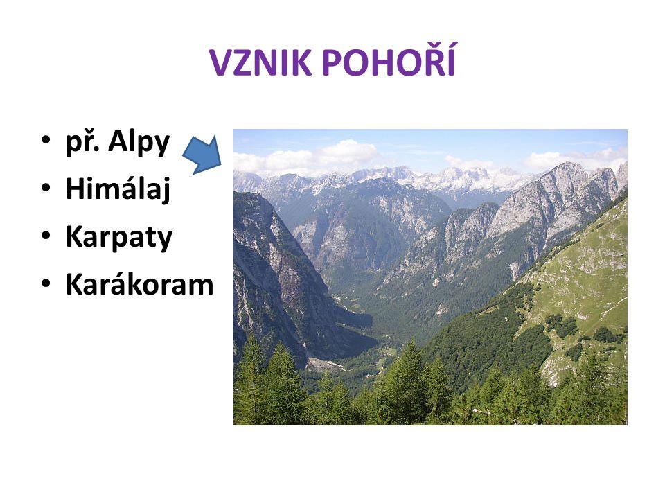 VZNIK POHOŘÍ př. Alpy Himálaj Karpaty Karákoram