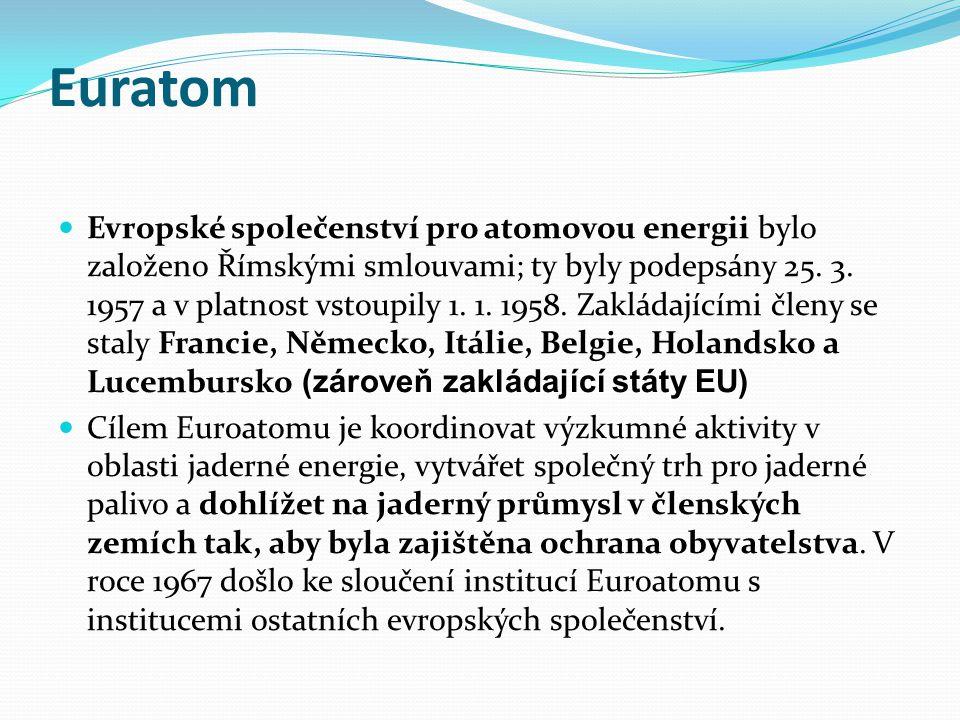 Euratom Evropské společenství pro atomovou energii bylo založeno Římskými smlouvami; ty byly podepsány 25.
