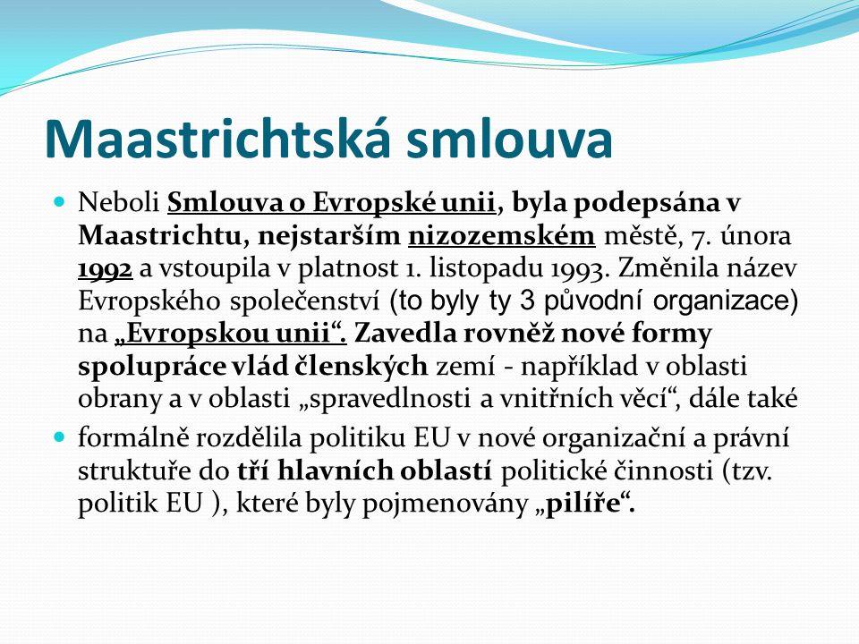 """První """"pilíř – Evropské společenství označuje primární a sekundární právo Evropské unie, týká se mimo jiné ekonomických, sociálních a ekologických záležitostí."""