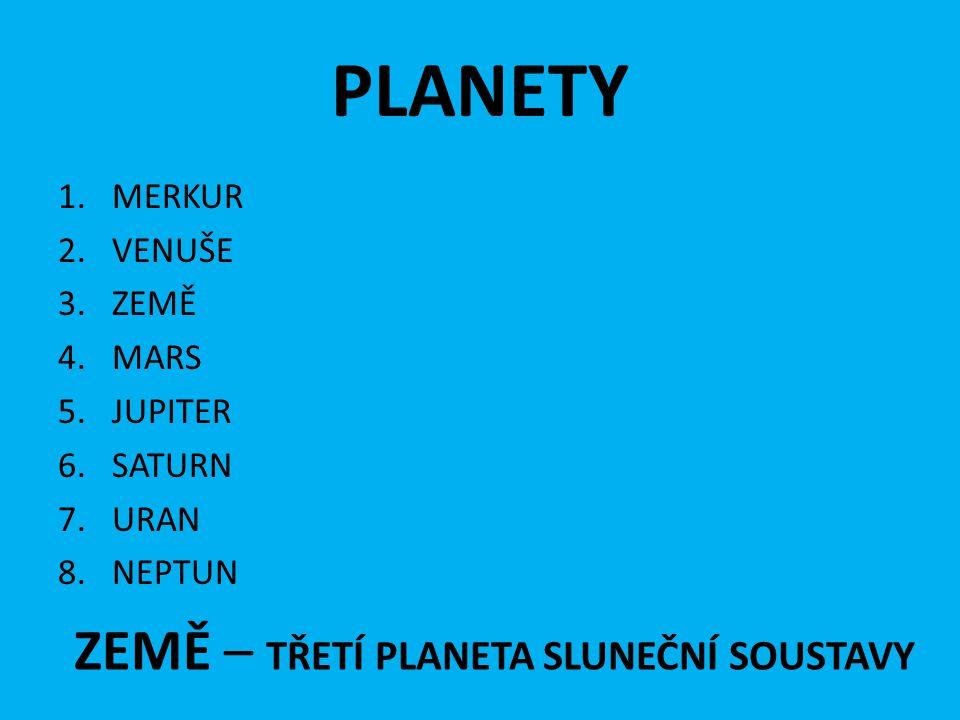 PLANETY 1.MERKUR 2.VENUŠE 3.ZEMĚ 4.MARS 5.JUPITER 6.SATURN 7.URAN 8.NEPTUN ZEMĚ – TŘETÍ PLANETA SLUNEČNÍ SOUSTAVY