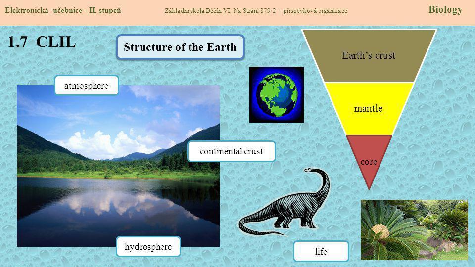 1.7 CLIL Elektronická učebnice - II. stupeň Základní škola Děčín VI, Na Stráni 879/2 – příspěvková organizace Biology Earth's crust mantle core Struct