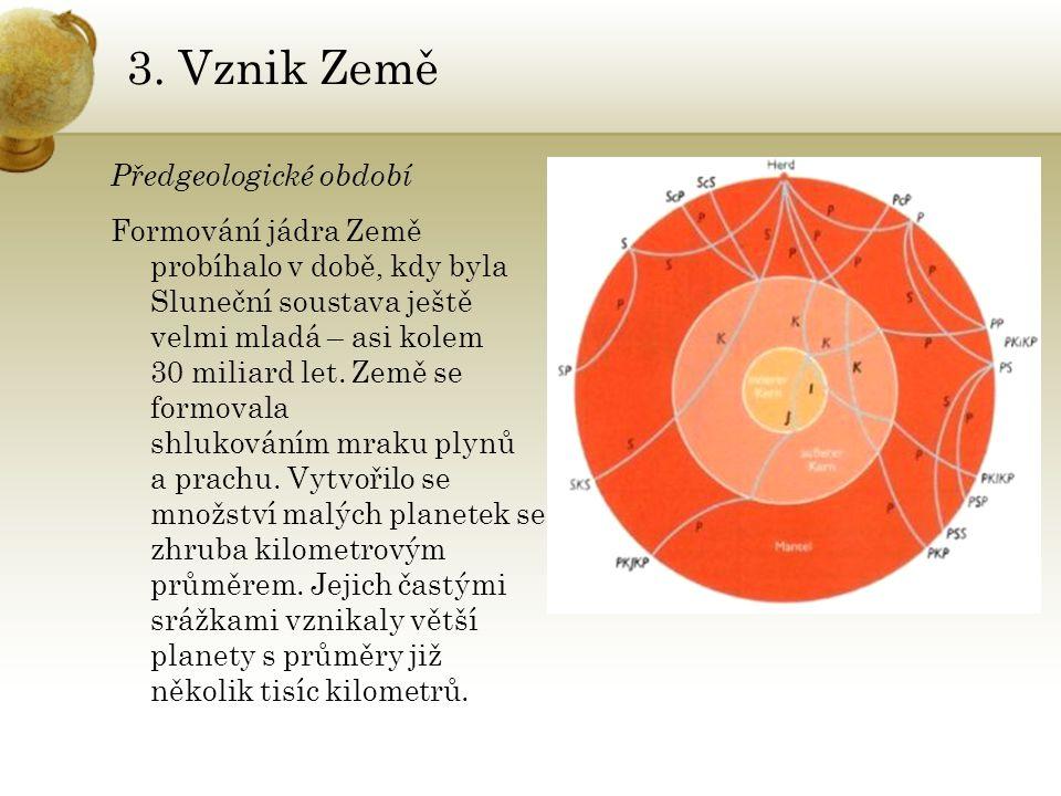 3. Vznik Země Předgeologické období Formování jádra Země probíhalo v době, kdy byla Sluneční soustava ještě velmi mladá – asi kolem 30 miliard let. Ze