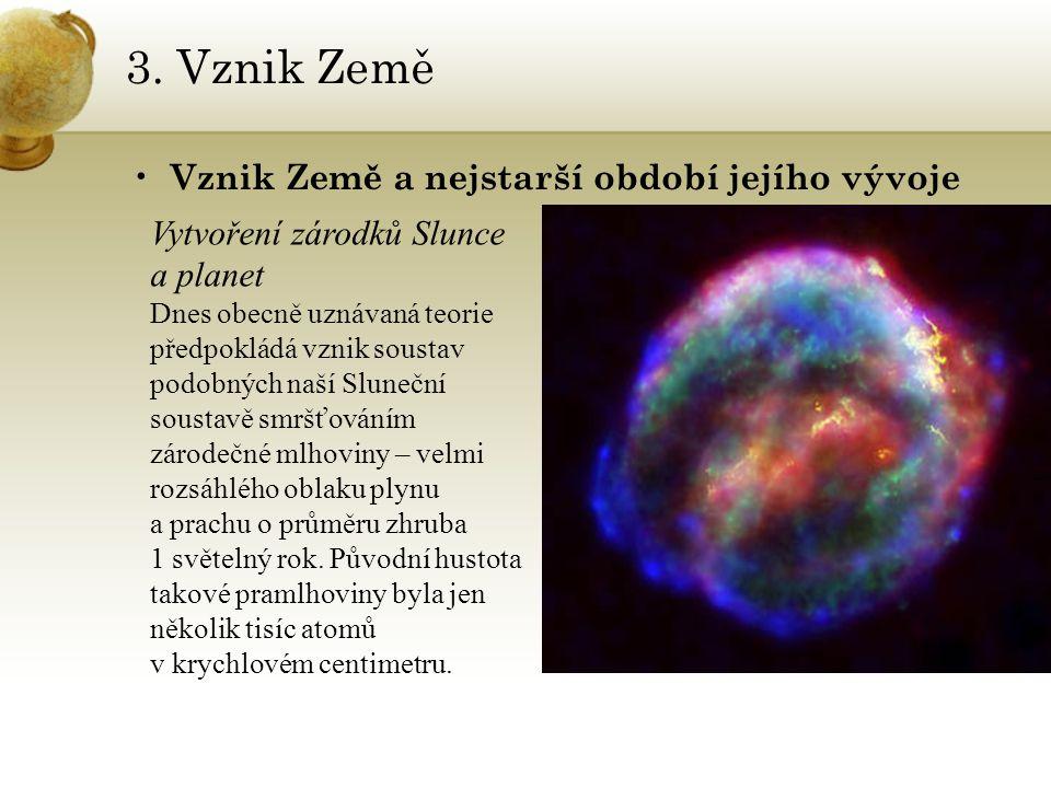 3. Vznik Země Vznik Země a nejstarší období jejího vývoje Vytvoření zárodků Slunce a planet Dnes obecně uznávaná teorie předpokládá vznik soustav podo