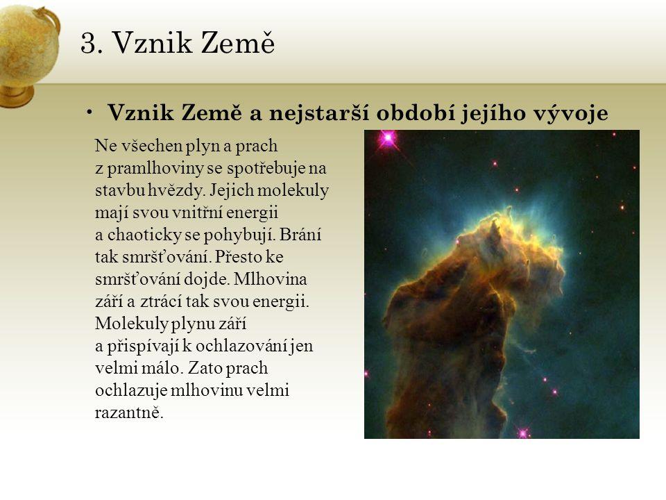 3. Vznik Země Vznik Země a nejstarší období jejího vývoje Ne všechen plyn a prach z pramlhoviny se spotřebuje na stavbu hvězdy. Jejich molekuly mají s