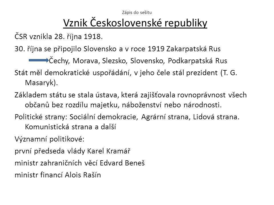 Zápis do sešitu Vznik Československé republiky ČSR vznikla 28.