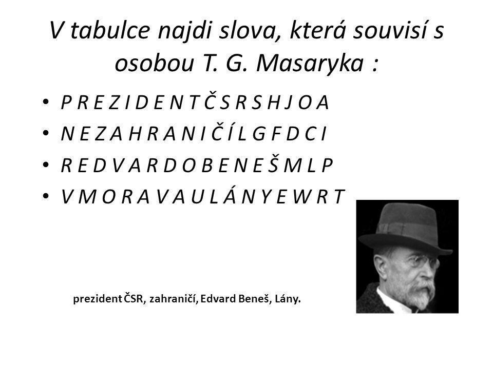 V tabulce najdi slova, která souvisí s osobou T.G.