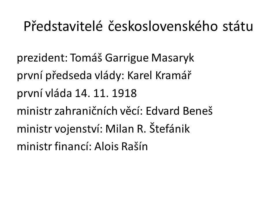 Představitelé československého státu prezident: Tomáš Garrigue Masaryk první předseda vlády: Karel Kramář první vláda 14.