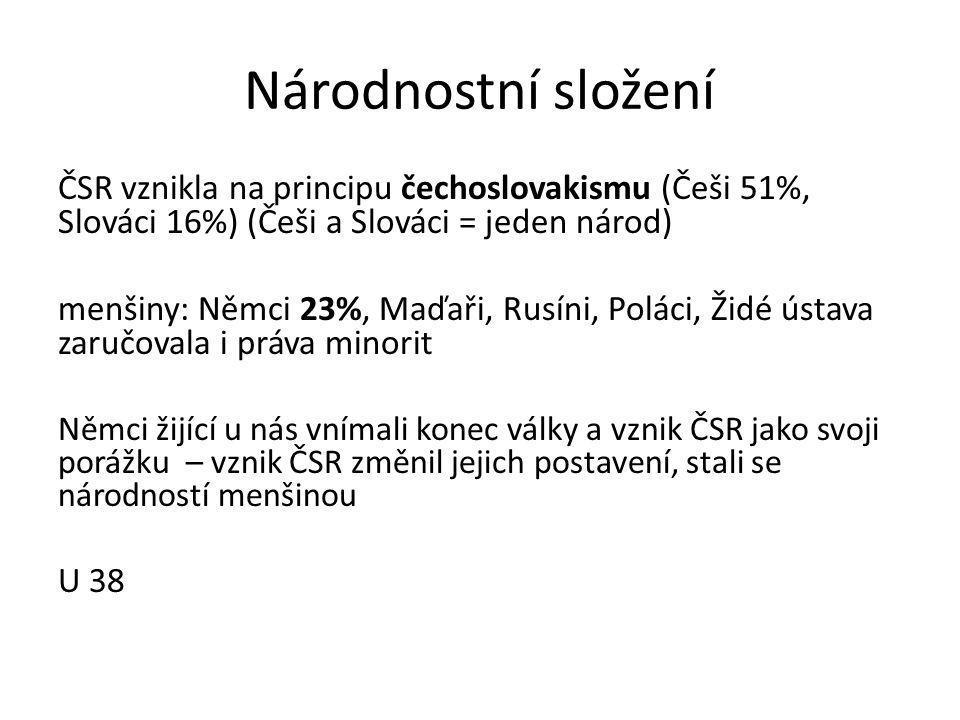 Národnostní složení ČSR vznikla na principu čechoslovakismu (Češi 51%, Slováci 16%) (Češi a Slováci = jeden národ) menšiny: Němci 23%, Maďaři, Rusíni, Poláci, Židé ústava zaručovala i práva minorit Němci žijící u nás vnímali konec války a vznik ČSR jako svoji porážku – vznik ČSR změnil jejich postavení, stali se národností menšinou U 38