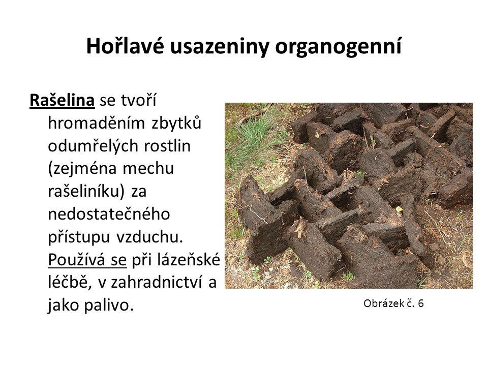 Hořlavé usazeniny organogenní Rašelina se tvoří hromaděním zbytků odumřelých rostlin (zejména mechu rašeliníku) za nedostatečného přístupu vzduchu. Po