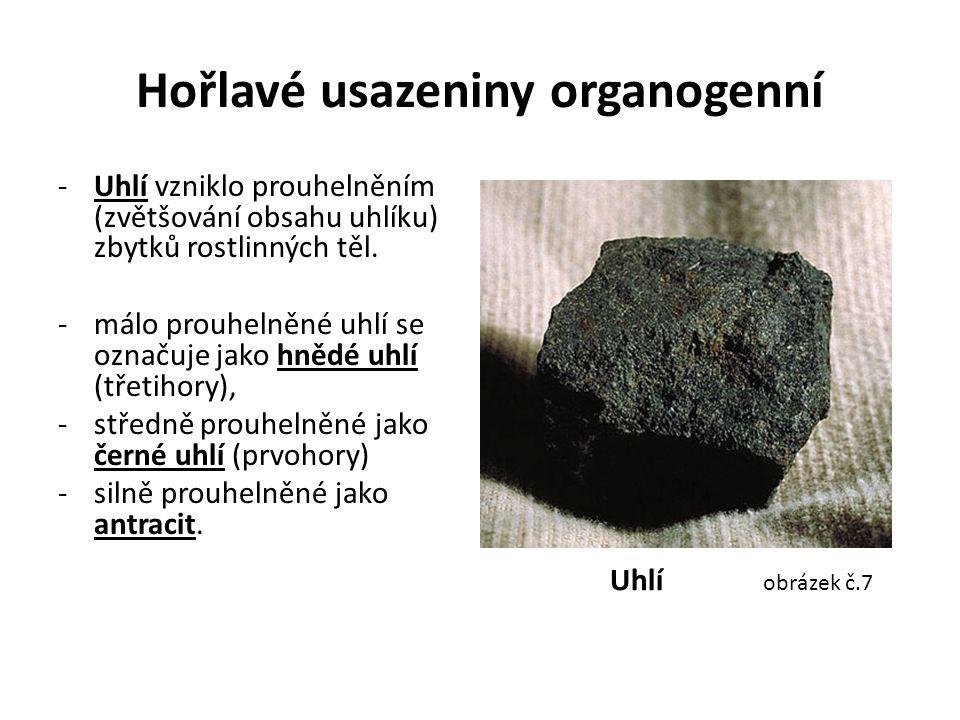 Hořlavé usazeniny organogenní -Uhlí vzniklo prouhelněním (zvětšování obsahu uhlíku) zbytků rostlinných těl. -málo prouhelněné uhlí se označuje jako hn