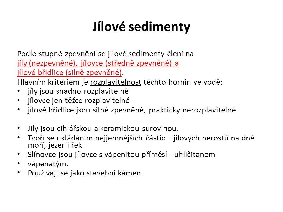 Jílové sedimenty Podle stupně zpevnění se jílové sedimenty člení na jíly (nezpevněné), jílovce (středně zpevněné) a jílové břidlice (silně zpevněné).